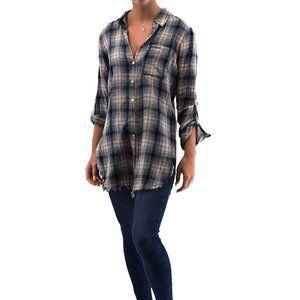 ELLISON Long Sleeve Plaid Button Down Shirt #YY6